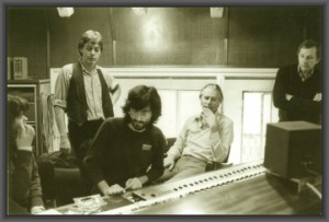 Michael Stavrou, Paul McCartney and George Martin at AIR Studios London